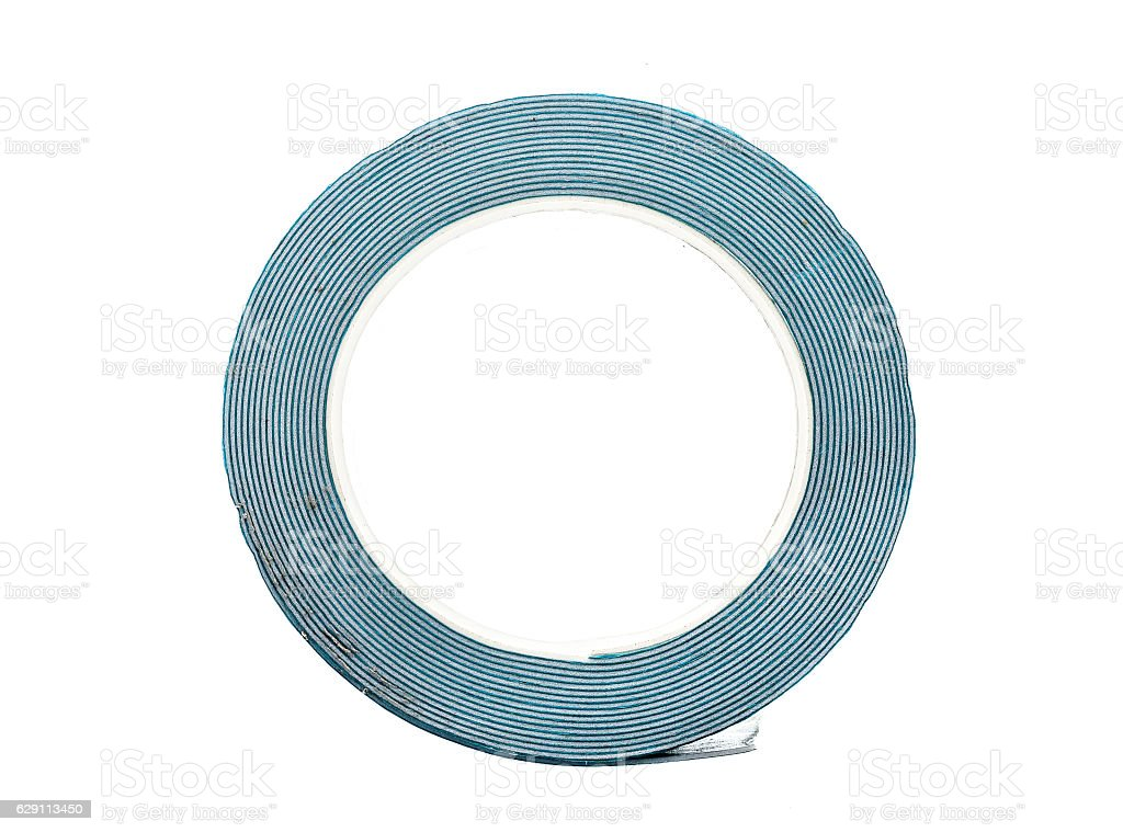 Double sided Foam Adhesive mounting tape isolated on white backg stock photo