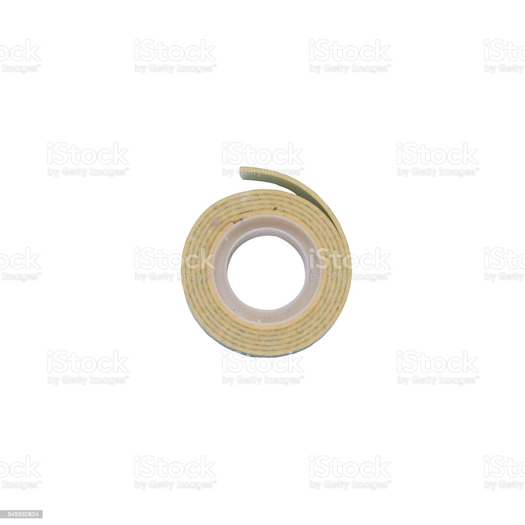 double sided tape top view isolated on white background stock photo