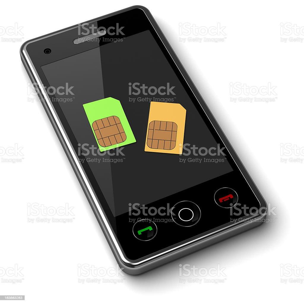 Double sim-card mobile phone stock photo