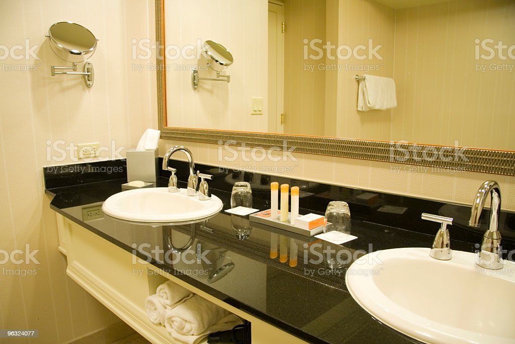 Double Sink with Marble Vanity stock photo