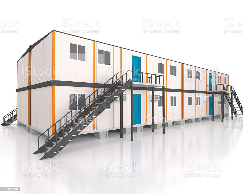Double story 3d view portable cabin container stock photo
