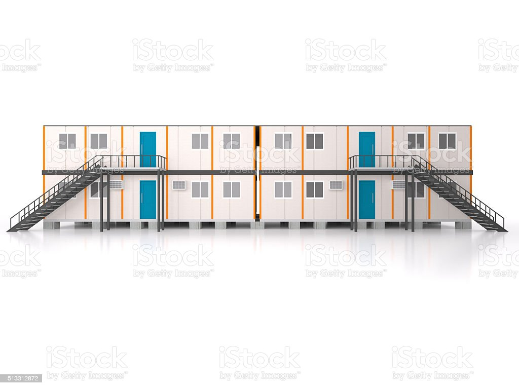 Double story elevation Portable house and office cabins stock photo