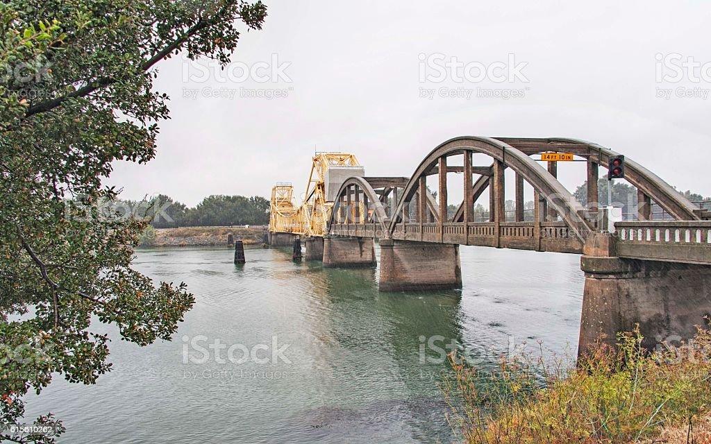 Double Style Bridges over Sacramento River with Light Rain stock photo