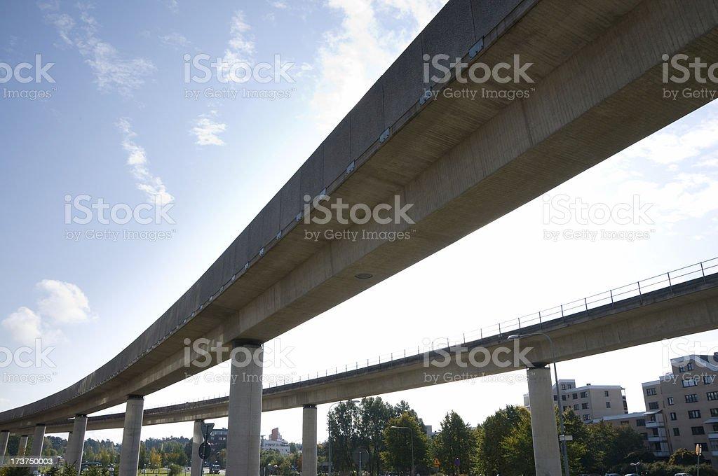 Double subway bridge stock photo