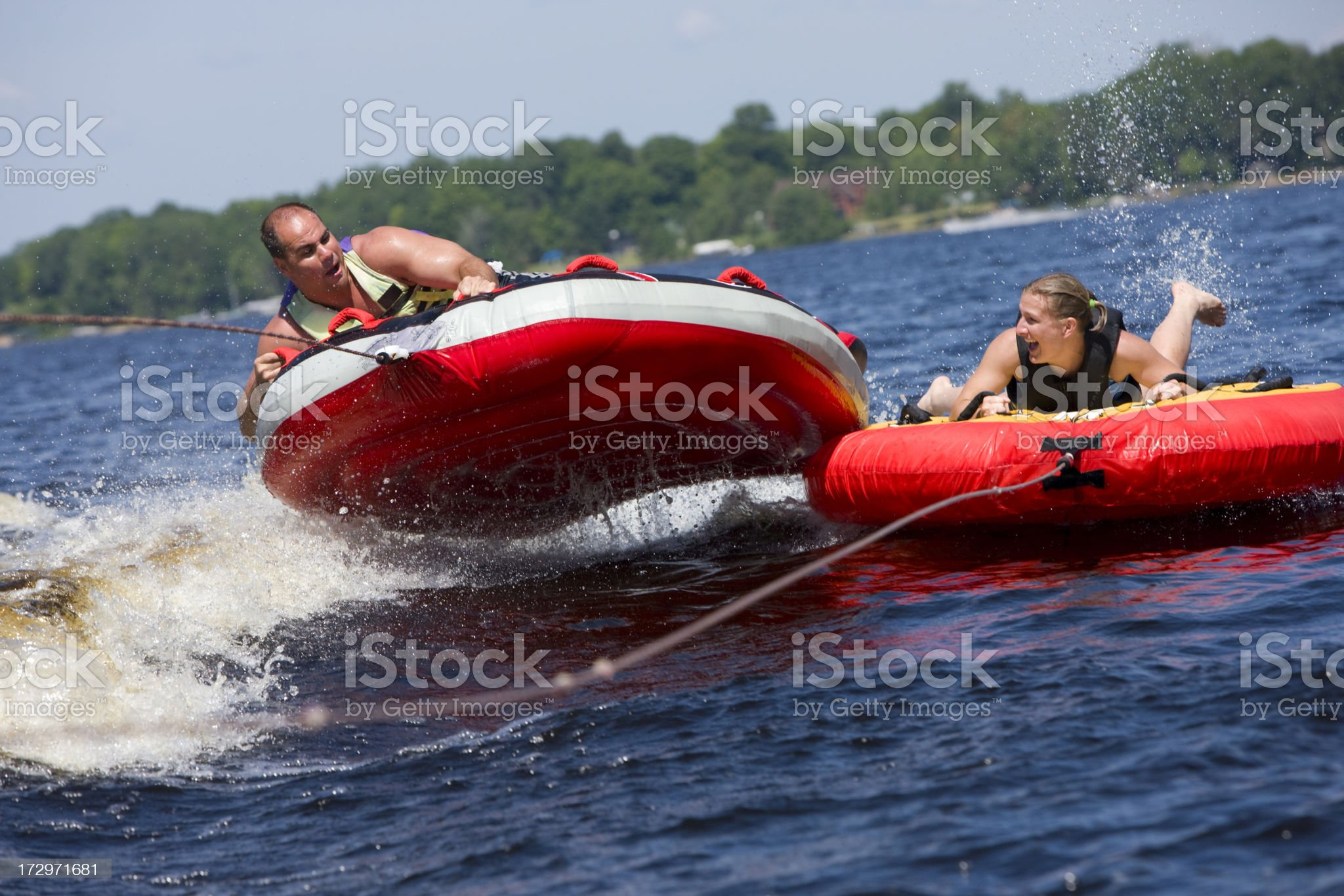 Double tubing fun. royalty-free stock photo