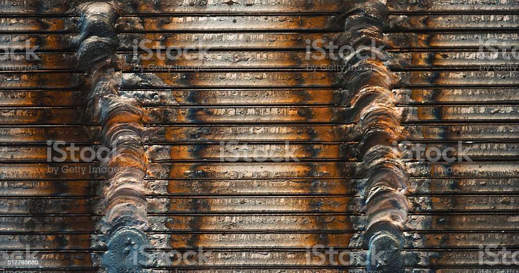 Double welding of iron laminations. stock photo