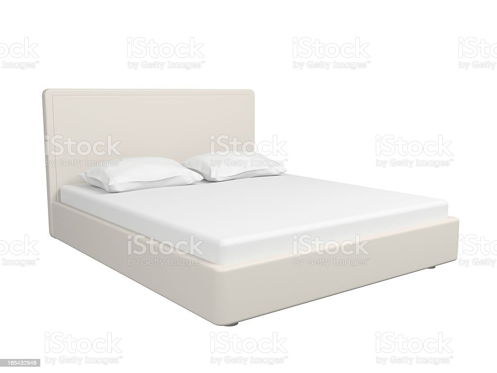 A double white bed on a white background stock photo