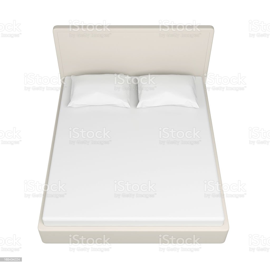 Double white bed. royalty-free stock photo
