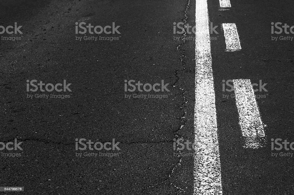 Double white line on asphalt road. stock photo