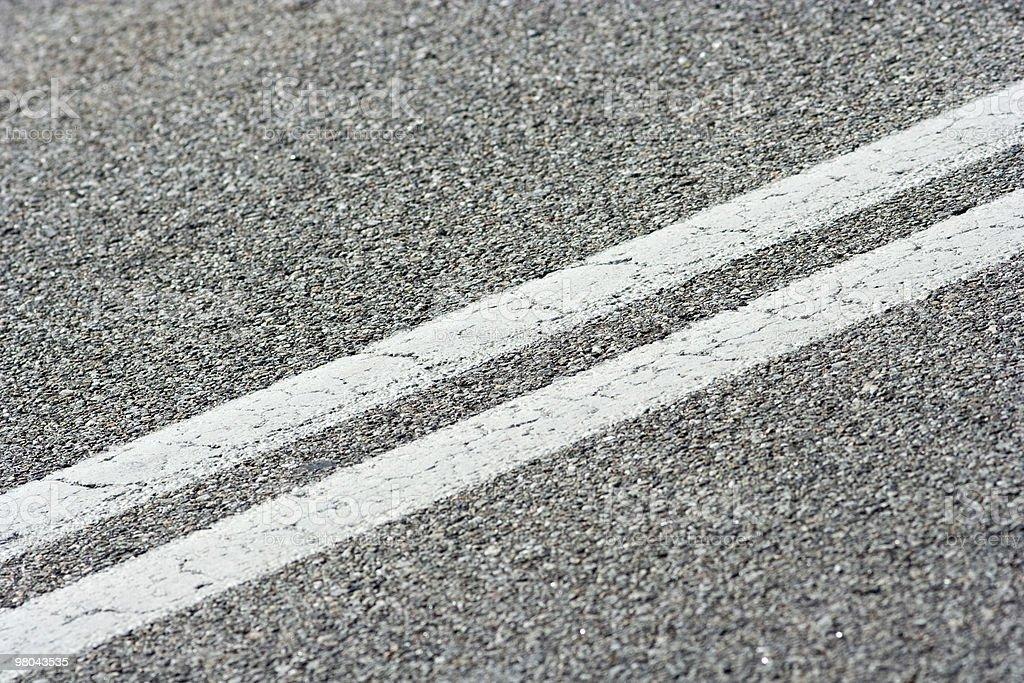 Double White Street Line Closeup royalty-free stock photo