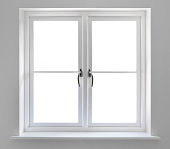 double white windows with clipping path