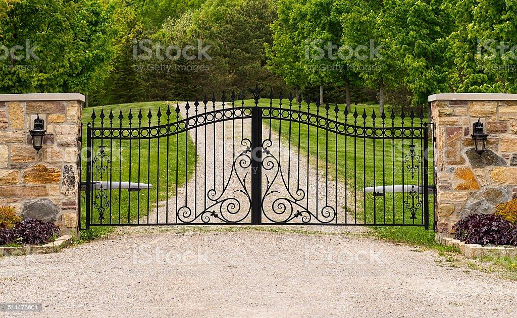 Double wrought-iron gate stock photo