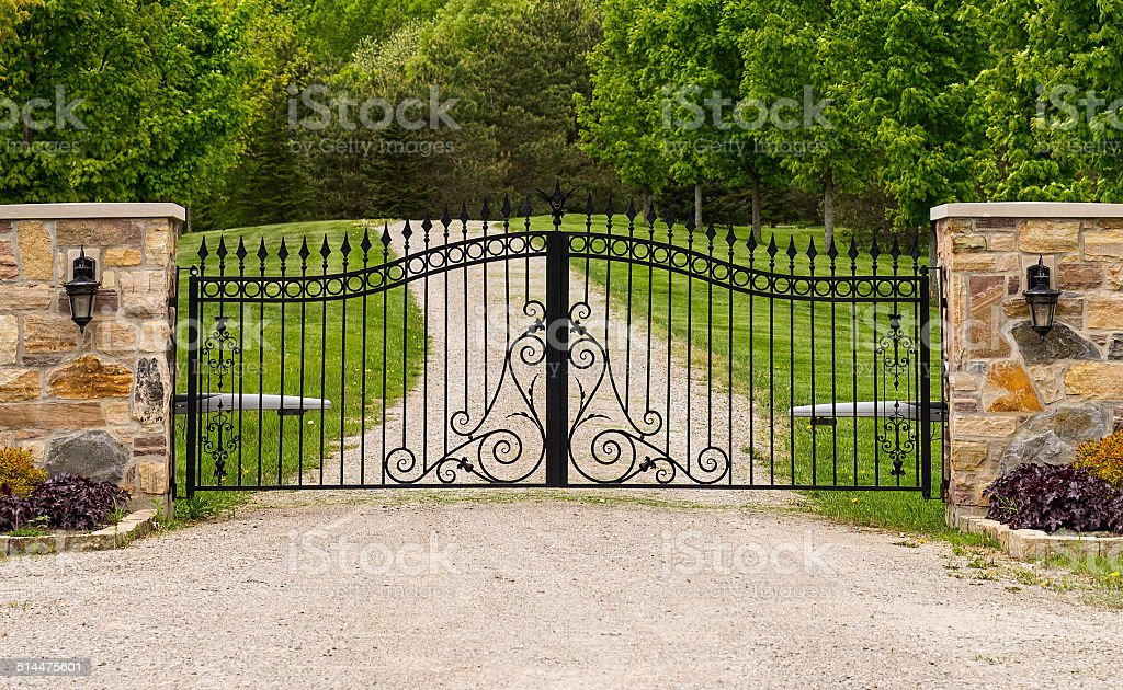 Double wrought-iron gate stock photo