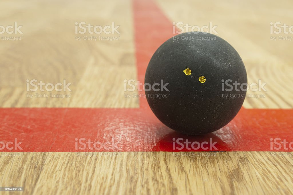 Double yellow dot squash ball on t-line. stock photo