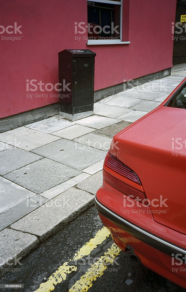 Double yellow line parking stock photo