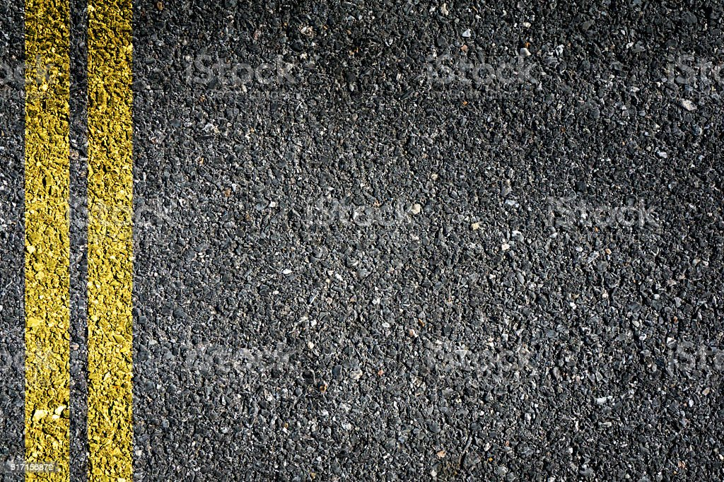 Double Yellow Sign on Asphalt stock photo