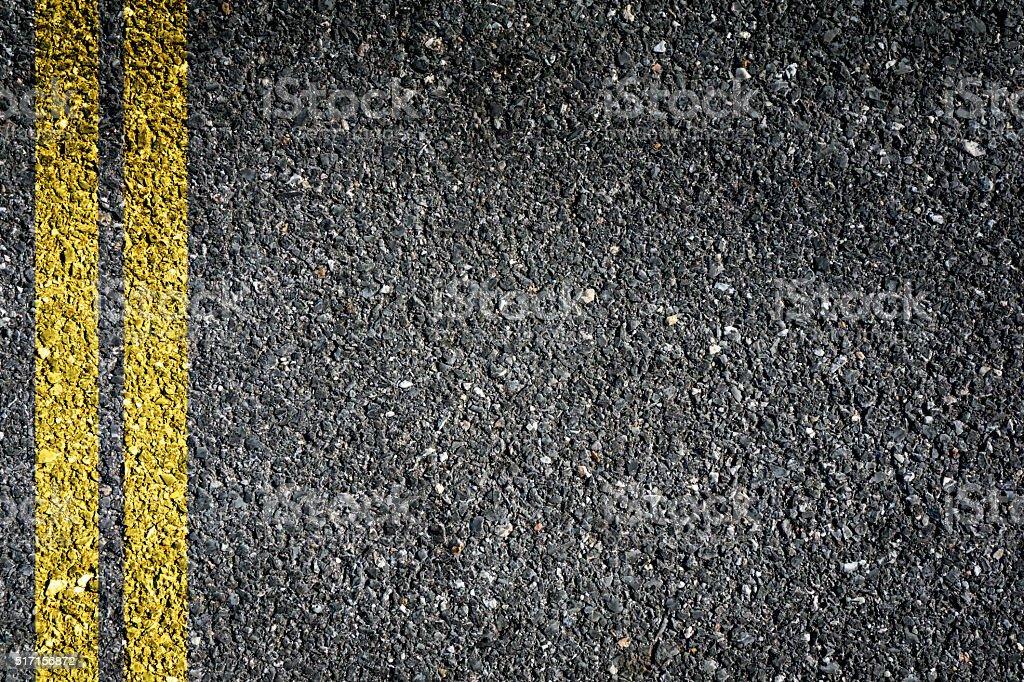 Double Yellow Sign on Asphalt stock photo