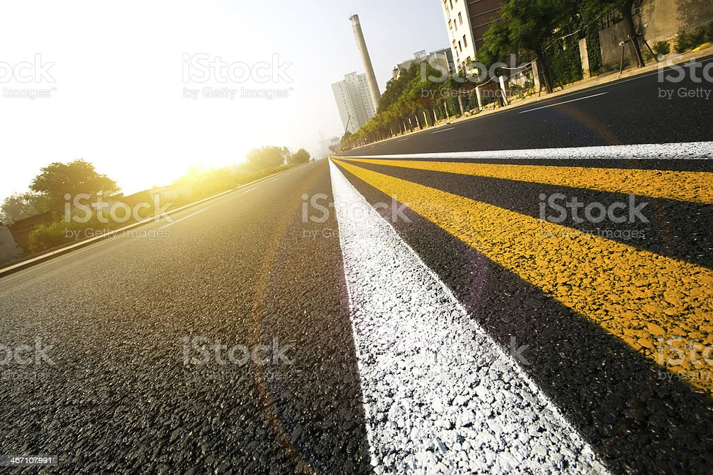 Double Yellow &  white Lines stock photo