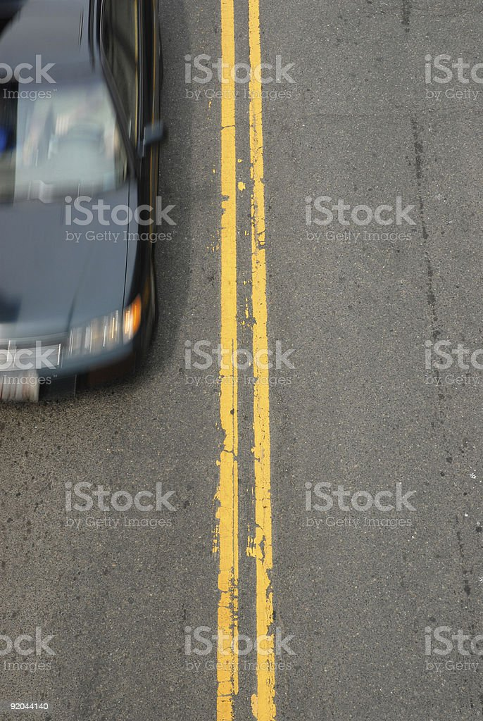 Double Yellow with Car royalty-free stock photo