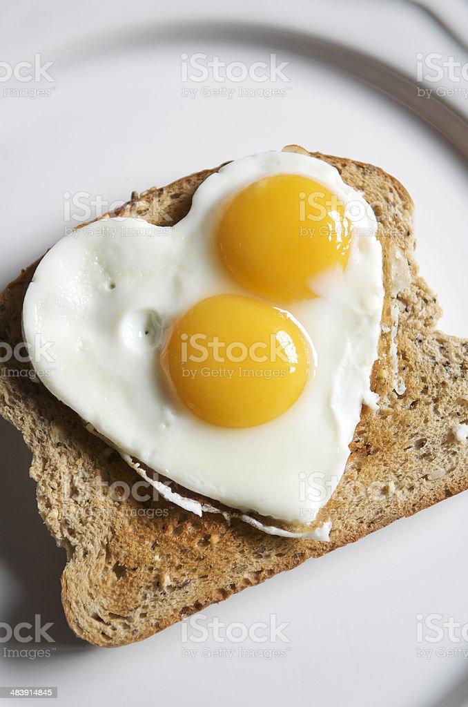 Double Yolk Heart Shape Egg stock photo