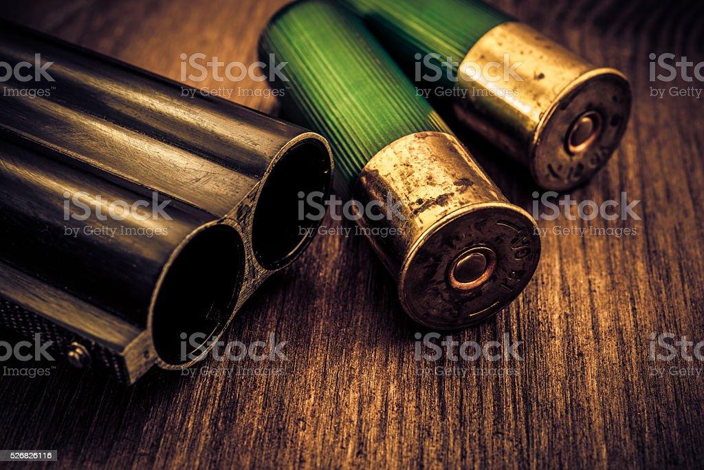 Double-barreled shotgun barrel and two green cartridges stock photo