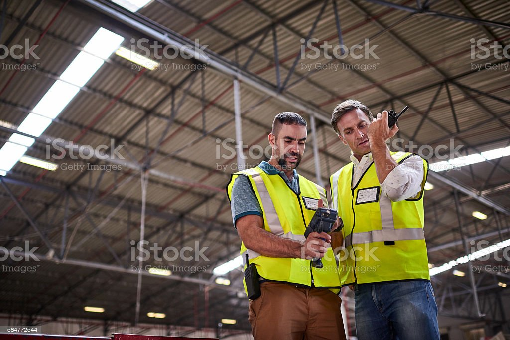 Double-checking a shipment stock photo