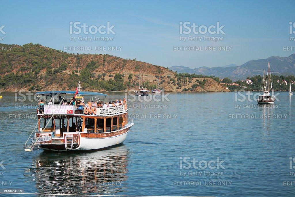 Double-deck walking yacht. Fethiye, Turkey stock photo
