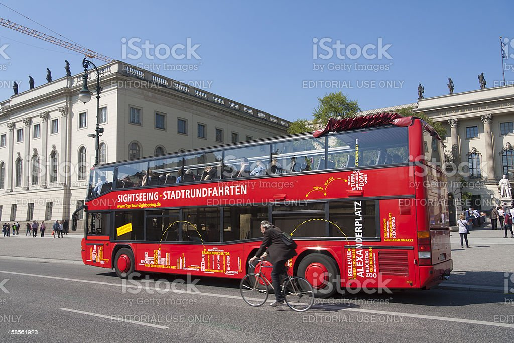 Double-decker bus for sightseeing in Berlin stock photo