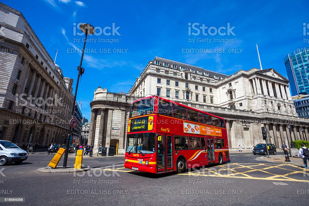 Double-decker bus in London, England stock photo