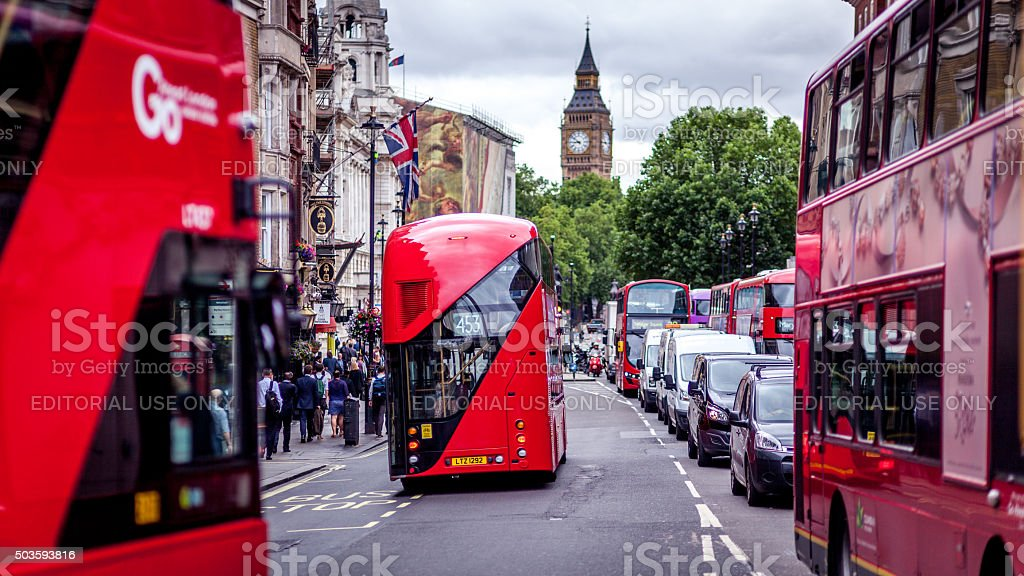 Double-decker buses in London, UK stock photo