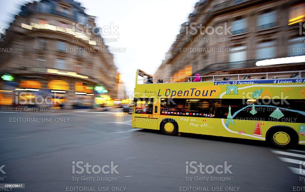 Double-Decker Tour Bus in Paris, France royalty-free stock photo