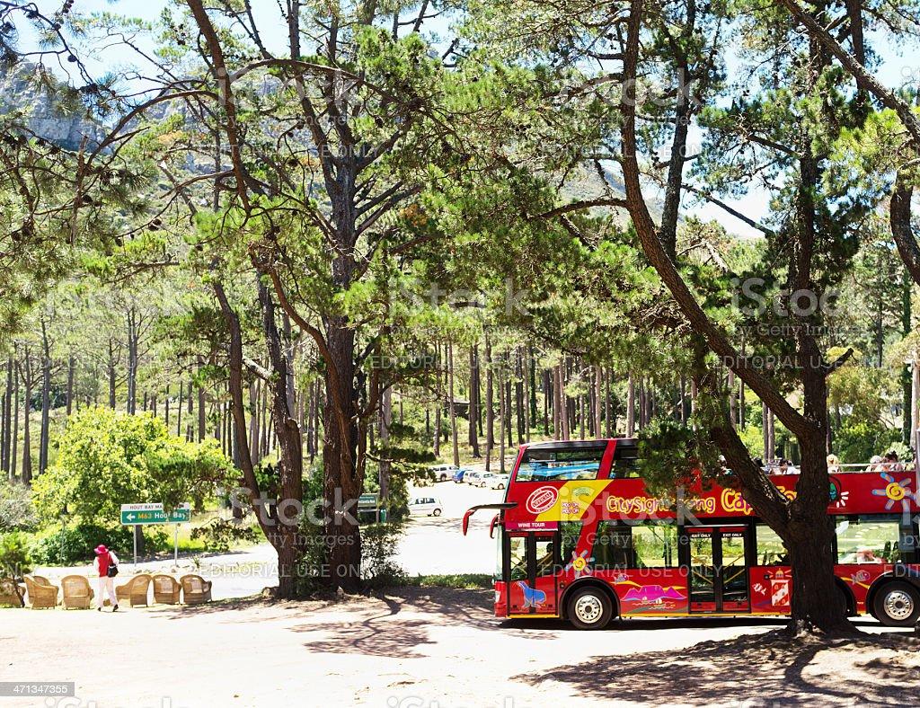 Double-decker tourist bus  at Constantia Nek Cape Town stock photo