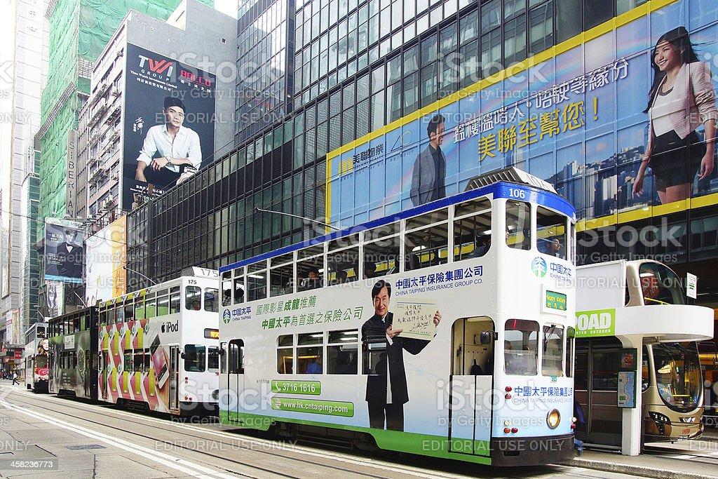 Double-decker tram in Hong Kong. royalty-free stock photo