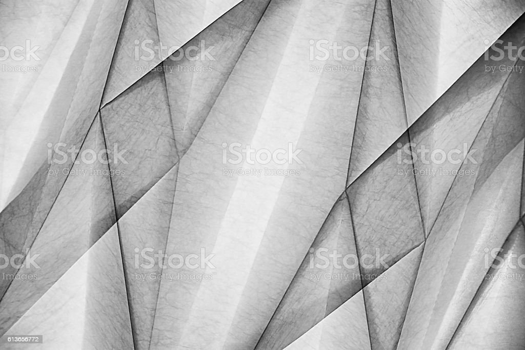 Double-exposure photo of wall or ceiling surface with polygonal pattern stock photo