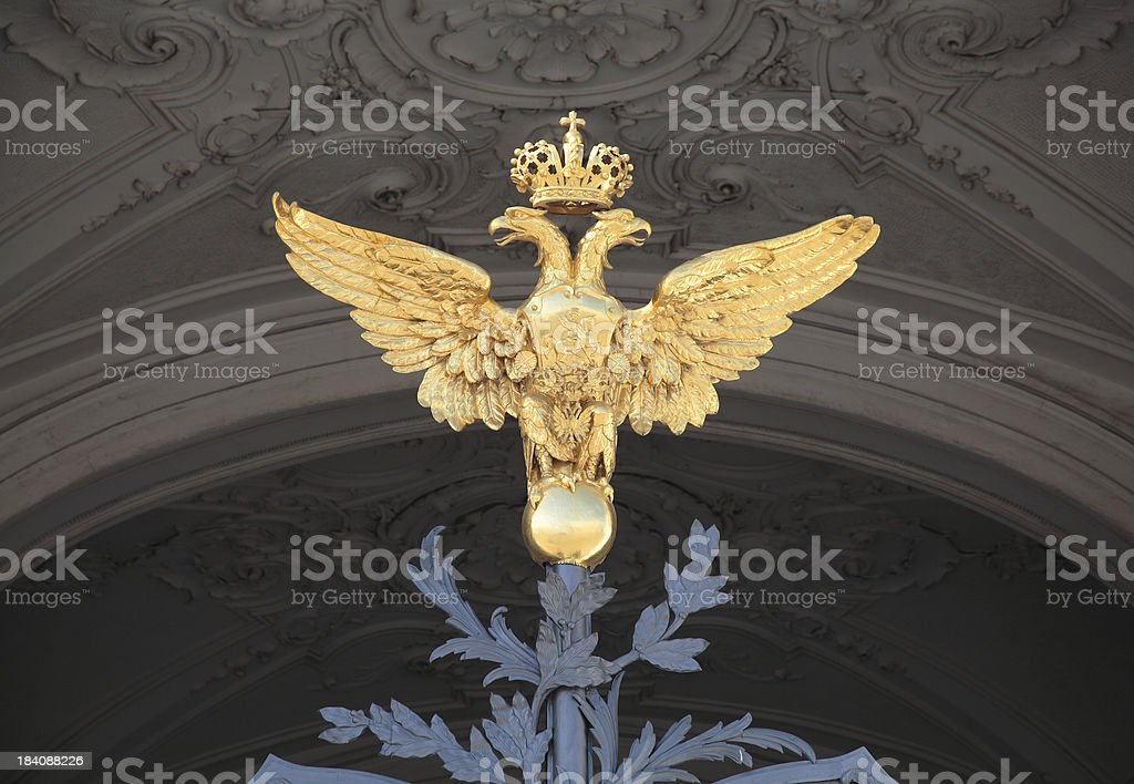 Double-headed eagle - Russian coat of arms. stock photo