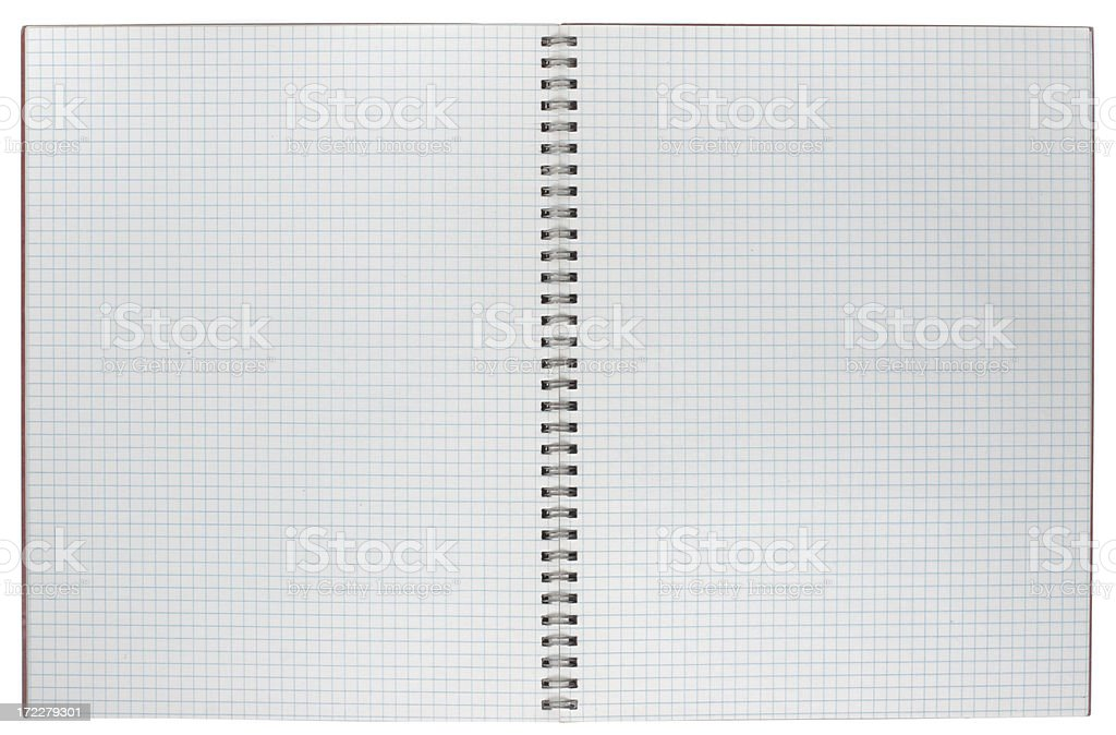 Double-Spread Open Spiralbound Graph Paper Notebook Isolated on White stock photo