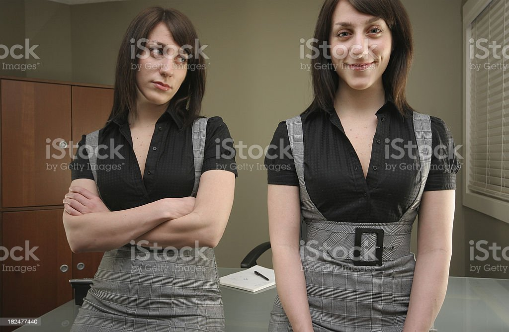 Doubtful and Happy Businesswoman royalty-free stock photo