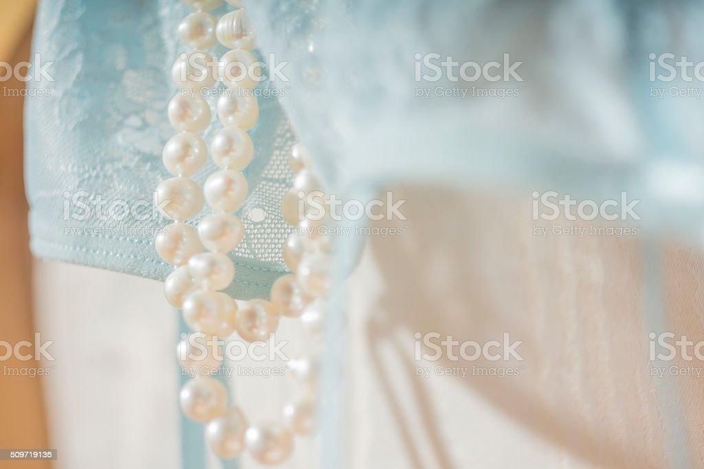 Douces perles, belle dentelle stock photo