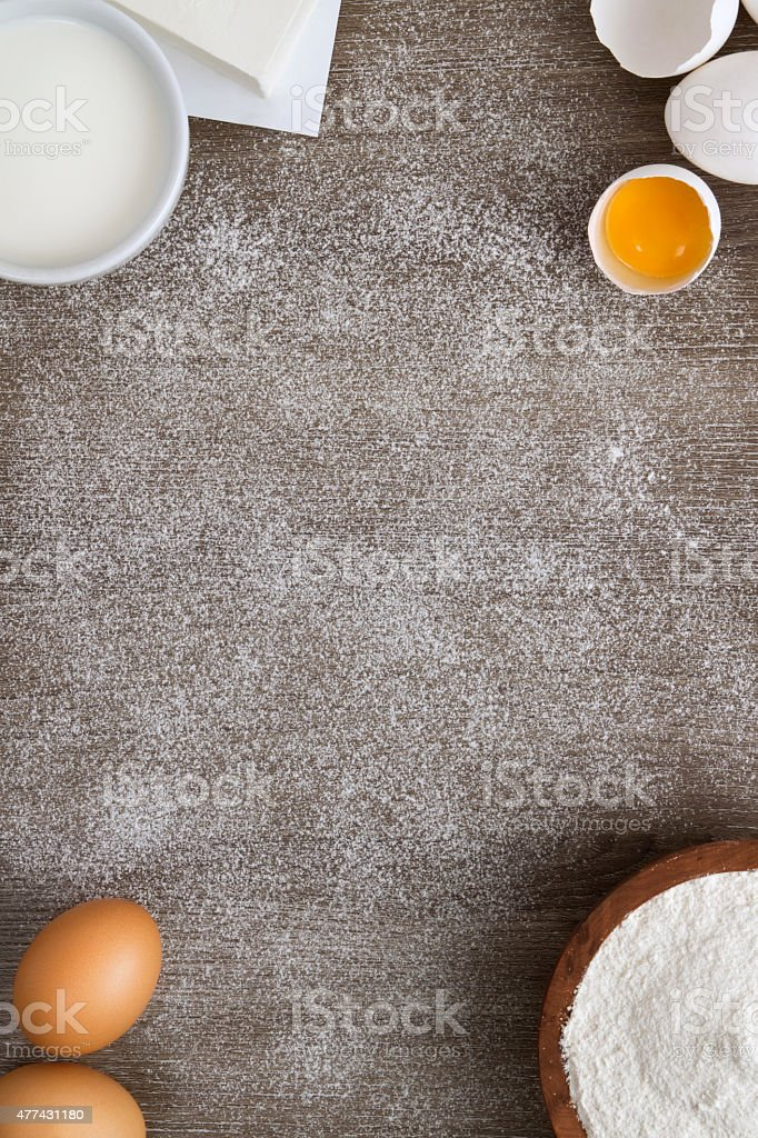 Dough Ingredients on Wooden Background stock photo