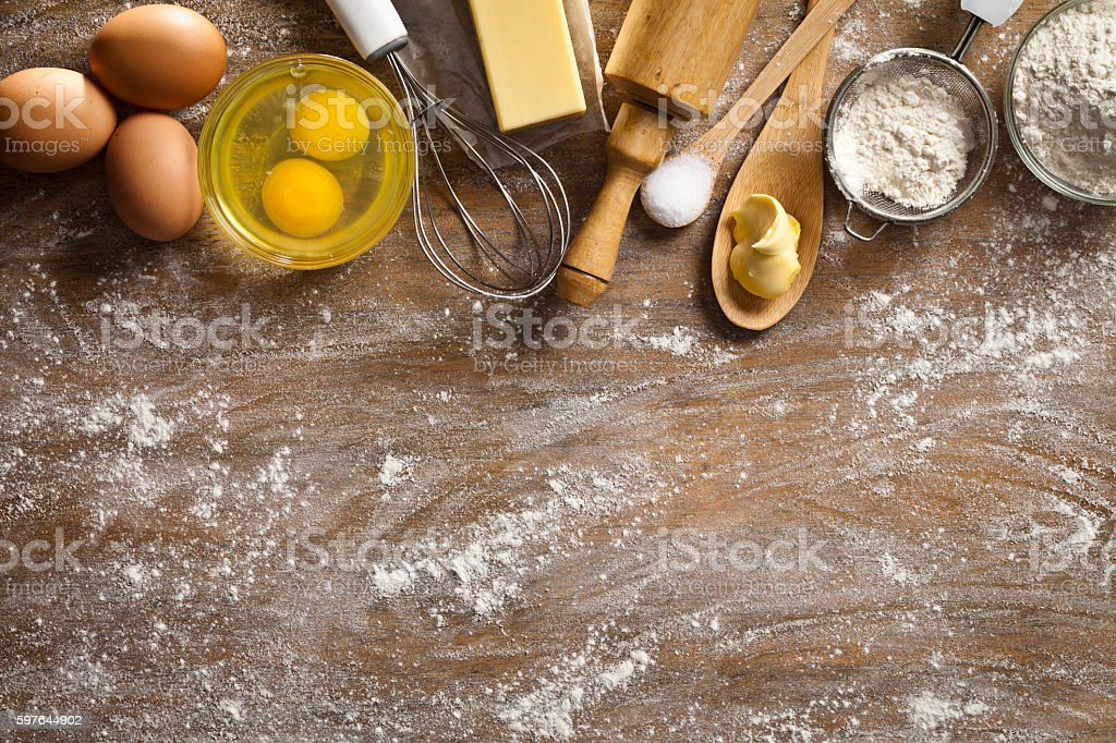 Dough preparation and baking frame stock photo