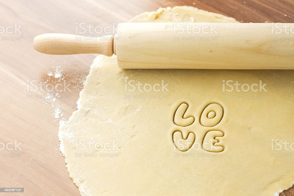 Dough with rolling royalty-free stock photo
