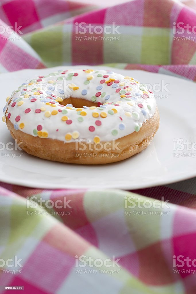 Doughnut on a plate royalty-free stock photo