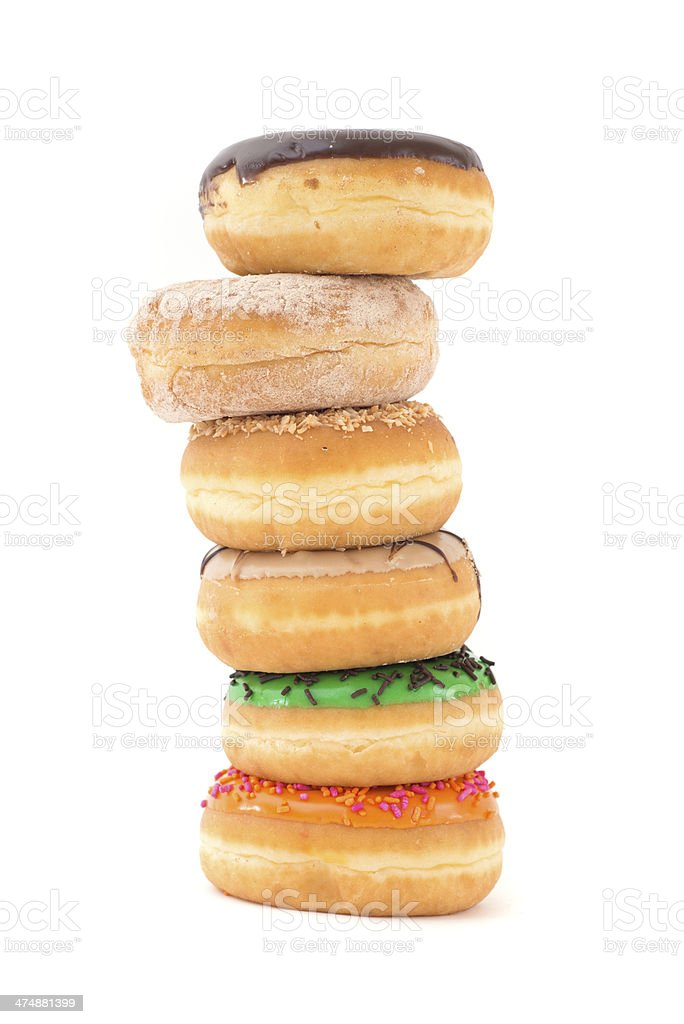 doughnut pile - six donuts tower royalty-free stock photo