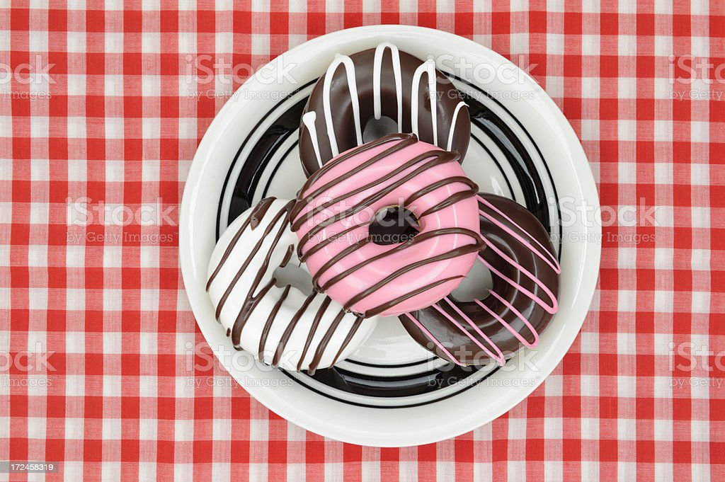 Doughnuts on Plate, Red Checkered Tablecloth royalty-free stock photo