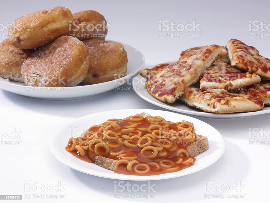 doughnuts, pizza nd hoops stock photo