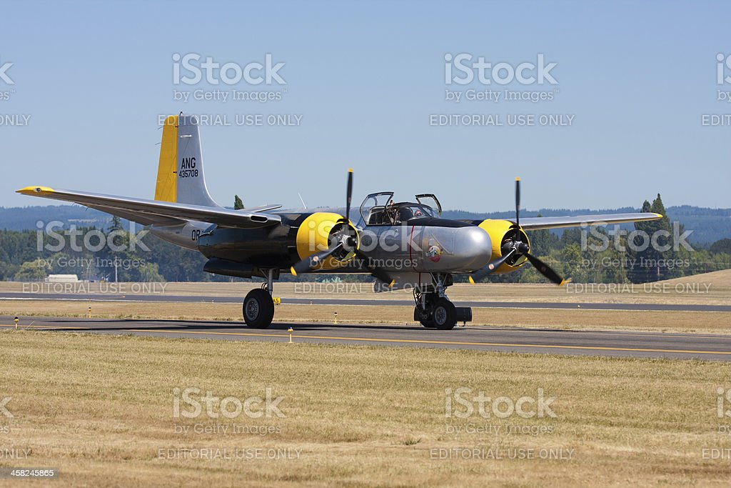 Douglas A-26C AirTanker 'Lead Sled' On the Runway royalty-free stock photo