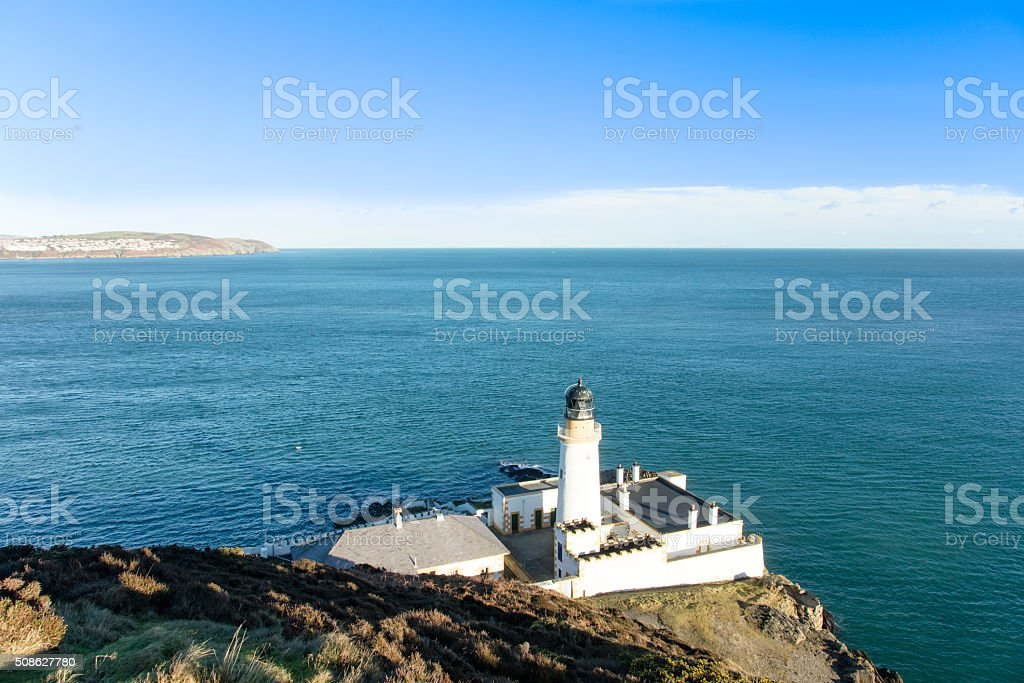 Douglas Bay Isle of Man with the Lighthouse stock photo
