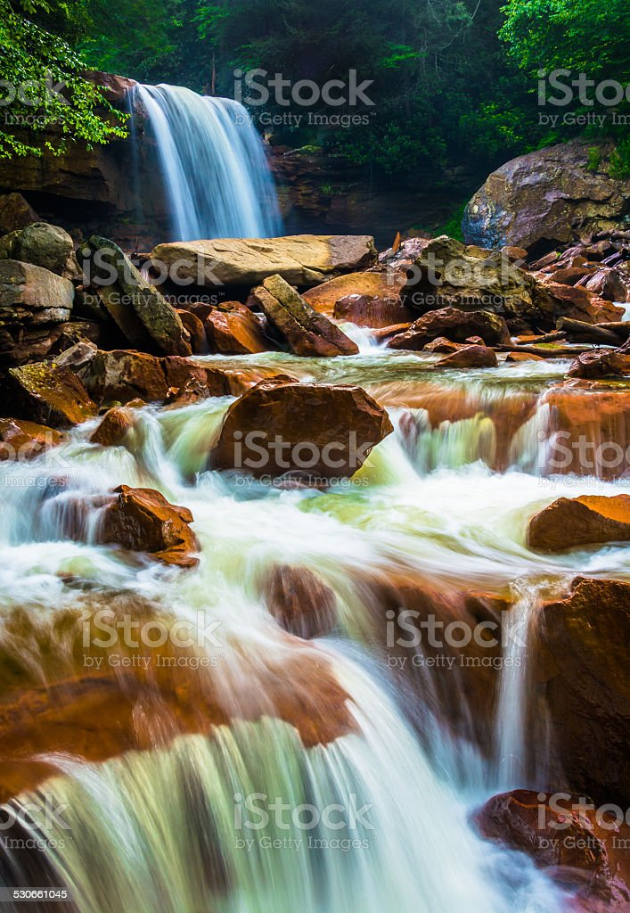 Douglas Falls, on the Blackwater River in Monongahela National F stock photo