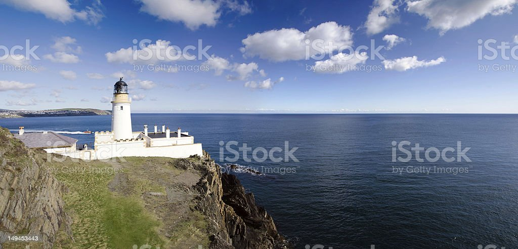 Douglas Lighthouse on the cliffs of the Isle of Man stock photo