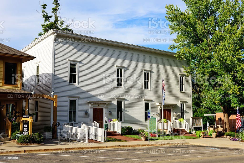 Douglas Village Hall, Michigan stock photo